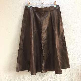 Forever 21 Black Leather Midi Skirt
