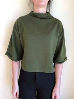 Khaki mock neck top