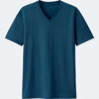 [LAST PRICE] Uniqlo V-neck Short Sleeve T-Shirt (Blue)