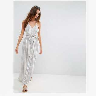 Natural Fibre Stripe Beach Maxi Dress