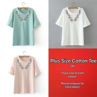 🚚 Plus Size Embroidered Round Collar Tee