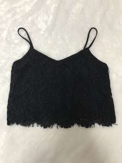 Black lace cropped cami top