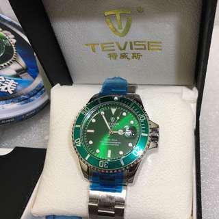 🚚 Tevise 特威斯 綠水鬼錶 含錶盒 保卡 提袋