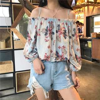 Florals blue cold shoulder top