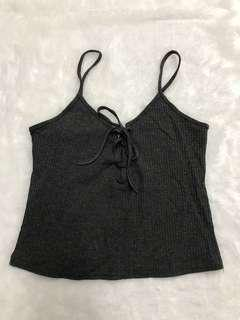 Dark grey lace up cami top