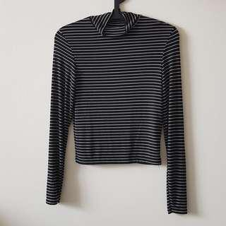 Black-and-White Striped Turtleneck