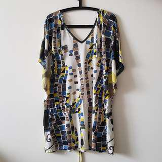 Patterned Blue, Brown and Yellow Dress
