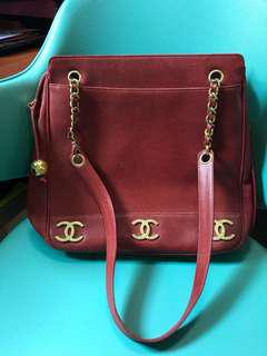 Authentic Chanel Red Caviar Tote 24k Gold