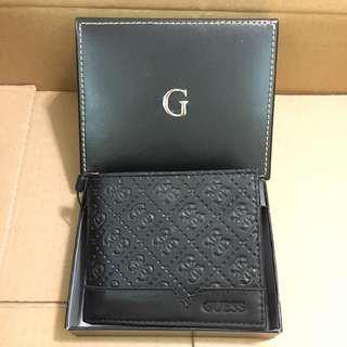 😍獨特紋設計Guess😍Men's Leather Wallet Black 黑色薄身真皮銀包