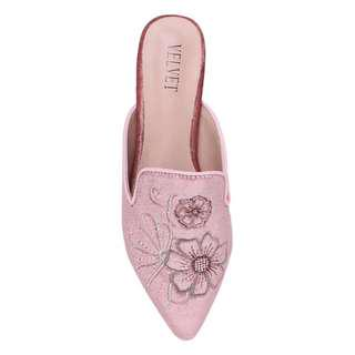 Embroidered velvet mule loafers