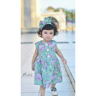 DRESS BABY Motif Bunga | Dress Anak | Set Dress Baby | BUTTON DRESS