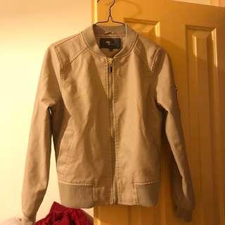TEMT nude leather jacket