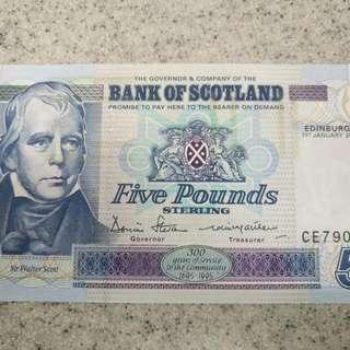 絕版--蘇格蘭5鎊(Bank Of Scotland)---300周年紀念版,全新直版難求。