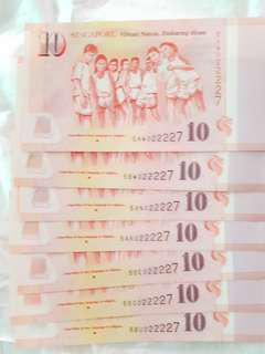 "📕SOLD after RESERVED 🆎 Up +$400 for SAME IDENTICAL NUMBERS. 🆎 Collective items for higher future values. 🆎 We can see  ""SG50""  printed in every piece of special $10 notes"
