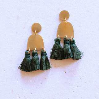 🚚 Maya Tassel Earrings - Green - 10% off sale