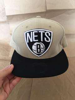 Mitchell & Ness BROOKLYN NETS Snapback Hat Oatmeal Beige NWOT