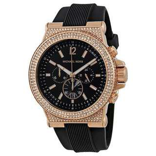 DYLAN BLACK DIAL LADIES CHRONOGRAPH CRYSTAL WATCH MK8557