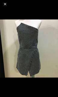 30% OFF CLEARANCE SALES {Women's Fashion - Romper} BN mds Brand Textured Black/White Polkadot Tubeless Top Romper With Side Pockets & Back Center Zip