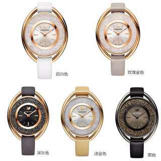 原廠公司貨Swarovski Crystalline女錶 橢圓形設計密鑲水晶般質地時尚手錶精品女士腕錶