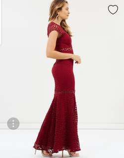 Romantic wine colour maxi dress