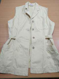 Cream Sleeveless Vest Jacket (L-XL)