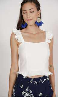 BNIP MDS Collections Frilly Peplum Babydoll Top In White