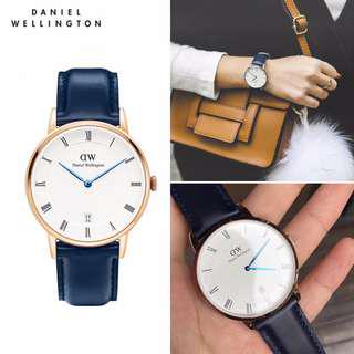 DW手錶 時尚藍針 最新款!藍色皮帶 情侶對錶 男錶女錶 Daniel Wellington 潮流腕錶 石英錶