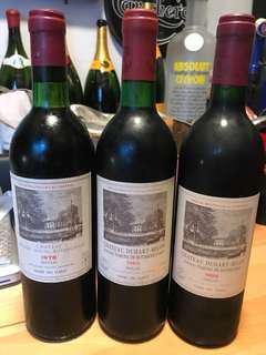 Red Wine 波爾多紅酒 三支 chateau duhart milon 1983 1989 1978