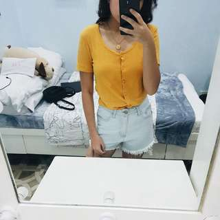Cotton On Mustard Yellow/Generation Z Yellow Buttondown Tie Crop Top