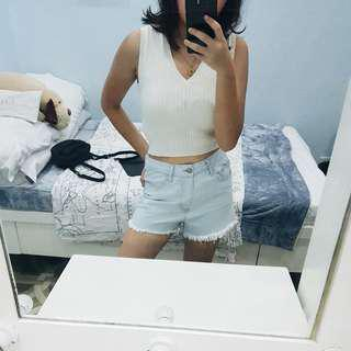 forever 21 vintage inspired cream ribbed crop top
