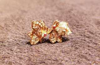18k鑲鑽石紅寶胡蝶 耳環