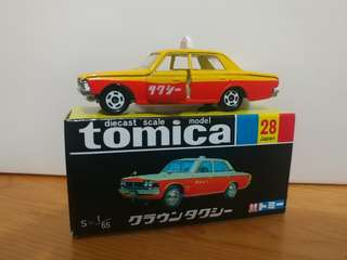 全新絕版tomica 黑黃盒 toyota crown taxi