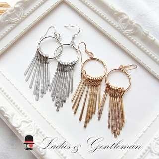 可免費改夾式<Ladies & gentleman>金銀雙色流蘇長垂墜耳環穿式耳環