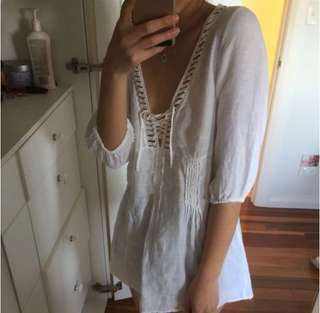 Max and Co linen white blouse lace up front