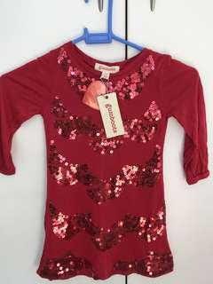 Gumboots red sequin long sleeve top