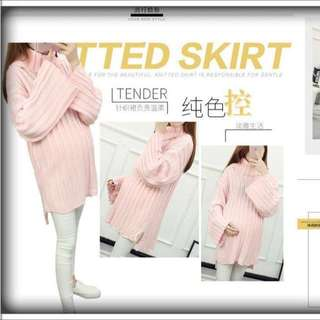 🚚 【現貨】韓版超柔軟高彈套頭純色針織毛衣(白/粉)孕婦也可以穿~