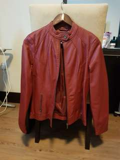 Faux Leather Red Jacket