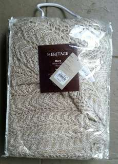 Brand New Myer Heritage Mary Bed Throw Beige 130x180cm Great