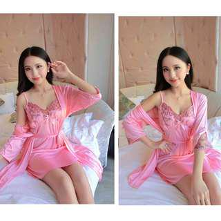 Sexy pink silk satin embroidery robe inner dress sleepwear lingerie set