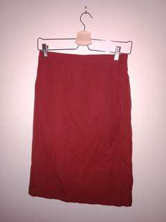 Vintage Red Midi Pencil Skirt