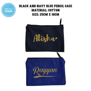 Black Navy Blue pencil case Custom Personalization Promotion with name print