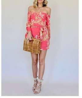 Off-shoulder Pink/Red Rayon Dress- BN