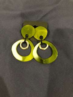 🚚 韓國 幾何造型耳環 (綠)