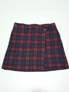 Maroon Plaid Skirt