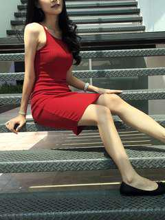 Red stretchy ribbed dress