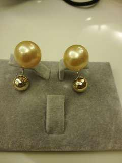 14k Dior Style Champagne Southsea and Gold ball reversible earrings