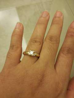Hearts and Arrows engagement ring .14k yellow gold
