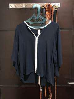 zara navy blouse