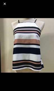 30% OFF CLEARANCE SALES {Women's Fashion - Blouse} BN mds Brand Spaghetti Pettie Top In Stripes Sleeveless Blouse