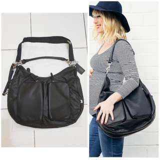 Black Leather Diaper Bag